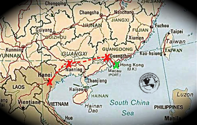 Traveling from Hong Kong to Hanoi overland.