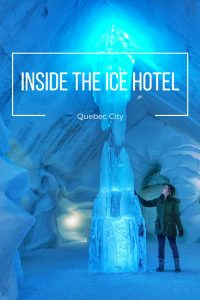 Inside the Hotel de Glace in Quebec City.